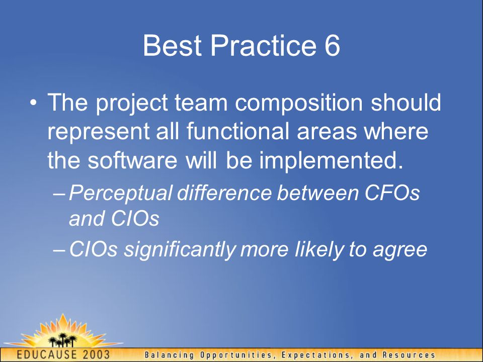 Best Practice 6 The project team composition should represent all functional areas where the software will be implemented. –Perceptual difference betw