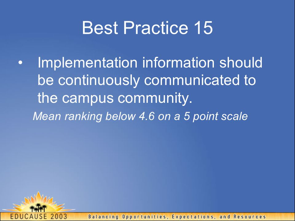 Best Practice 15 Implementation information should be continuously communicated to the campus community. Mean ranking below 4.6 on a 5 point scale