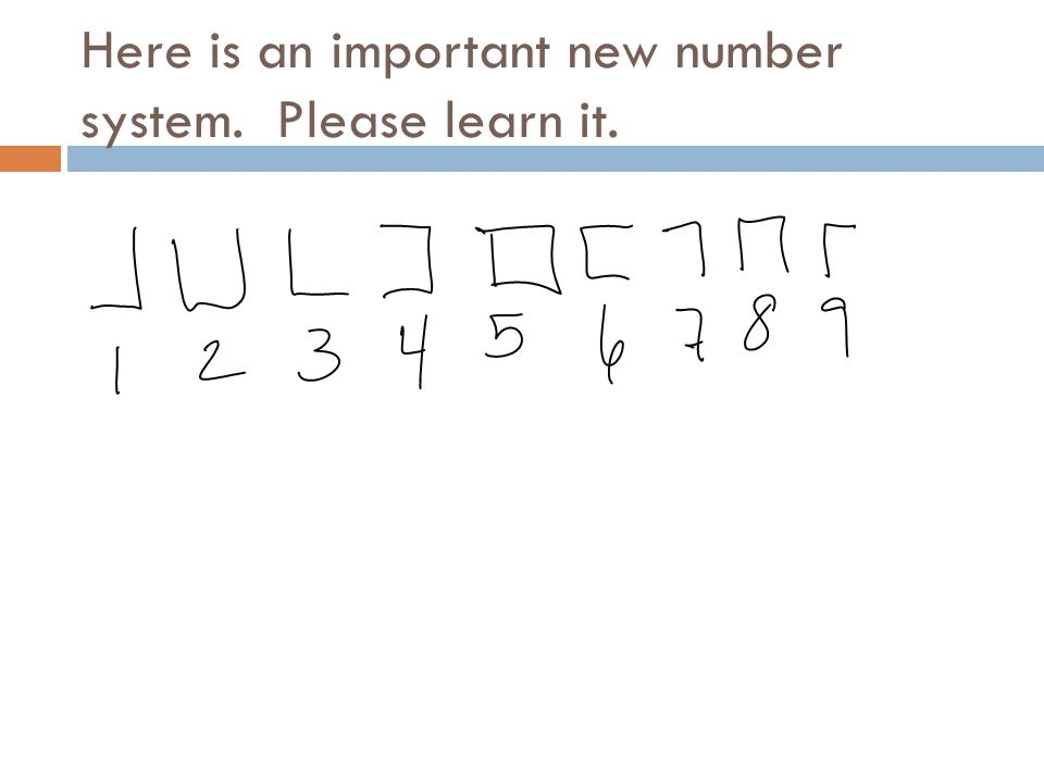 Here is an important new number system. Please learn it.
