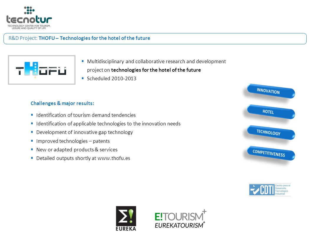 R&D Project: THOFU – Technologies for the hotel of the future  Multidisciplinary and collaborative research and development project on technologies f
