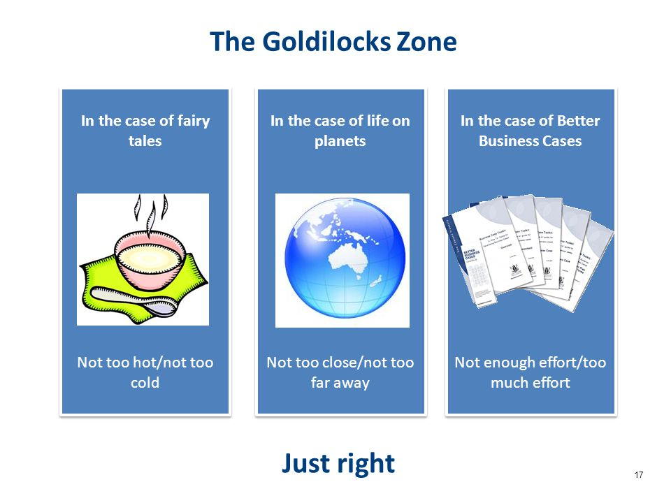 17 The Goldilocks Zone In the case of fairy tales Not too hot/not too cold In the case of fairy tales Not too hot/not too cold Just right In the case of life on planets Not too close/not too far away In the case of life on planets Not too close/not too far away In the case of Better Business Cases Not enough effort/too much effort In the case of Better Business Cases Not enough effort/too much effort