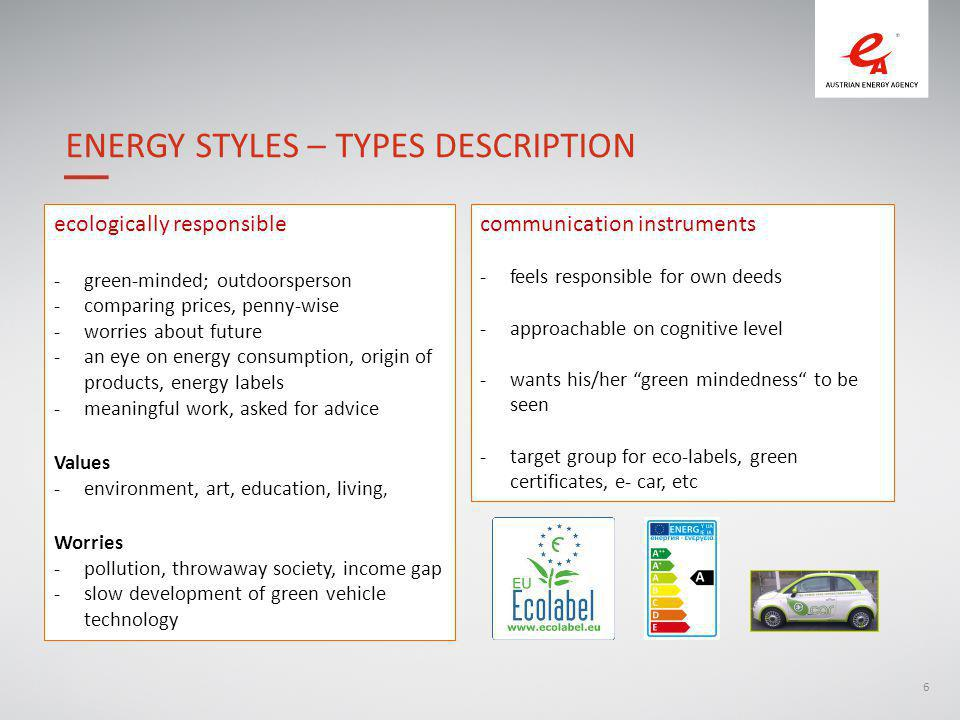 6 ecologically responsible -green-minded; outdoorsperson -comparing prices, penny-wise -worries about future -an eye on energy consumption, origin of products, energy labels -meaningful work, asked for advice Values -environment, art, education, living, Worries -pollution, throwaway society, income gap -slow development of green vehicle technology ENERGY STYLES – TYPES DESCRIPTION communication instruments -feels responsible for own deeds -approachable on cognitive level -wants his/her green mindedness to be seen -target group for eco-labels, green certificates, e- car, etc