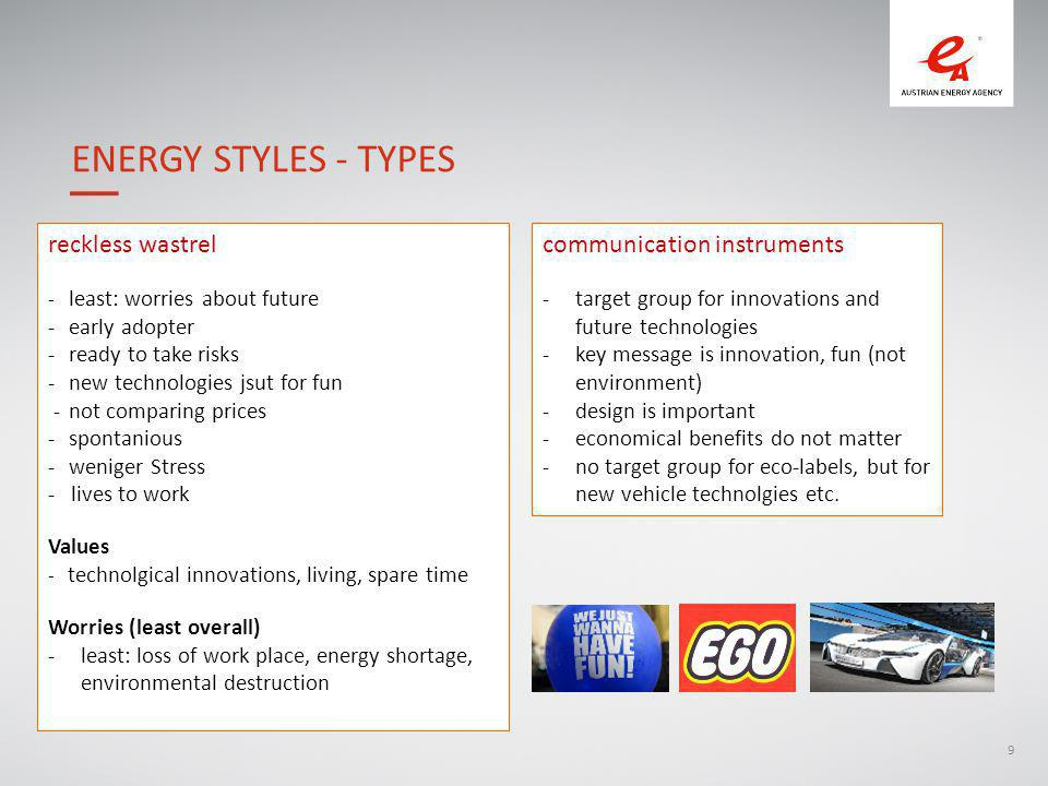 9 ENERGY STYLES - TYPES reckless wastrel - least: worries about future -early adopter -ready to take risks -new technologies jsut for fun -not comparing prices -spontanious -weniger Stress - lives to work Values - technolgical innovations, living, spare time Worries (least overall) -least: loss of work place, energy shortage, environmental destruction communication instruments -target group for innovations and future technologies -key message is innovation, fun (not environment) -design is important -economical benefits do not matter -no target group for eco-labels, but for new vehicle technolgies etc.