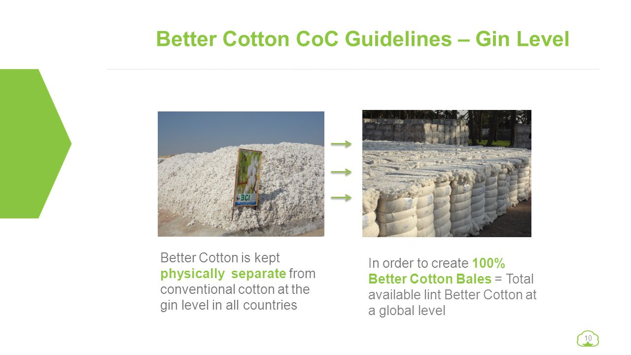 10 Better Cotton CoC Guidelines – Gin Level Better Cotton is kept physically separate from conventional cotton at the gin level in all countries In or