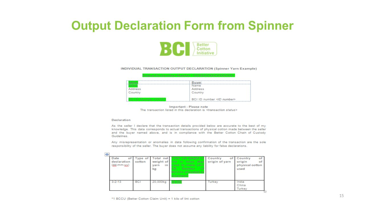 15 Output Declaration Form from Spinner
