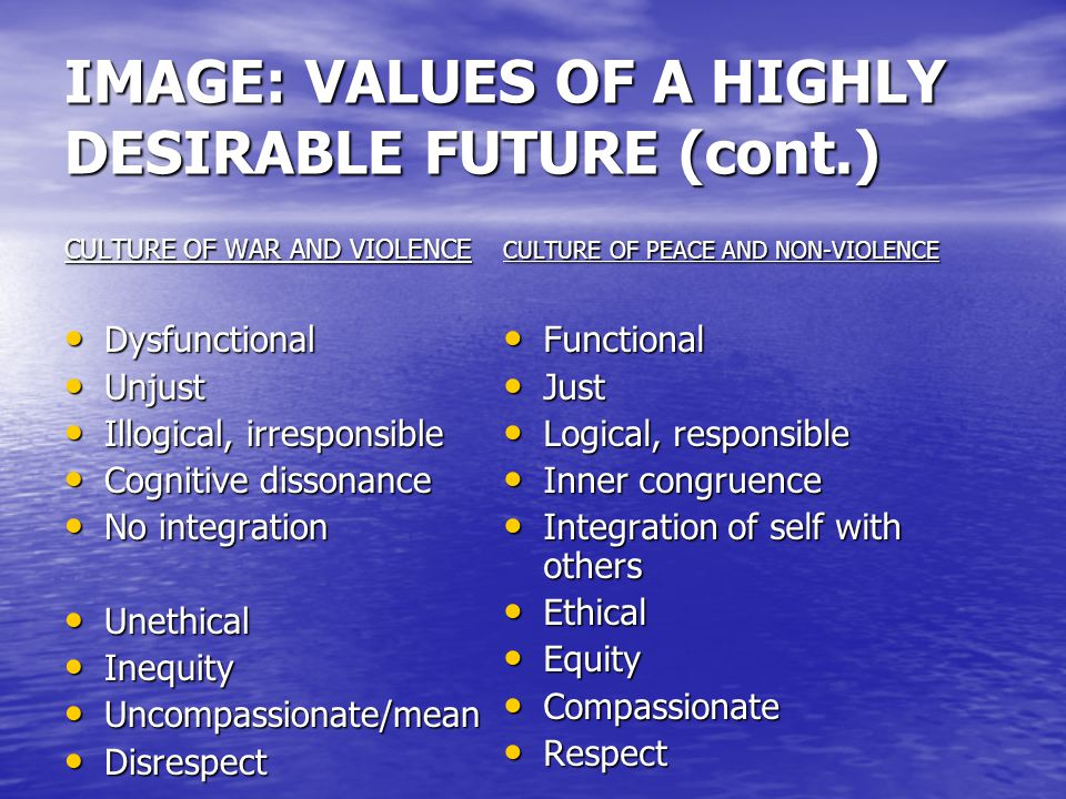 IMAGE: VALUES OF A HIGHLY DESIRABLE FUTURE (cont.) CULTURE OF WAR AND VIOLENCE Dysfunctional Dysfunctional Unjust Unjust Illogical, irresponsible Illo