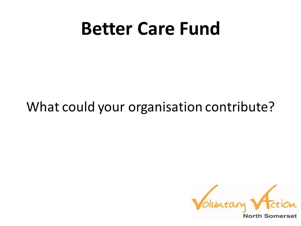 Better Care Fund What could your organisation contribute
