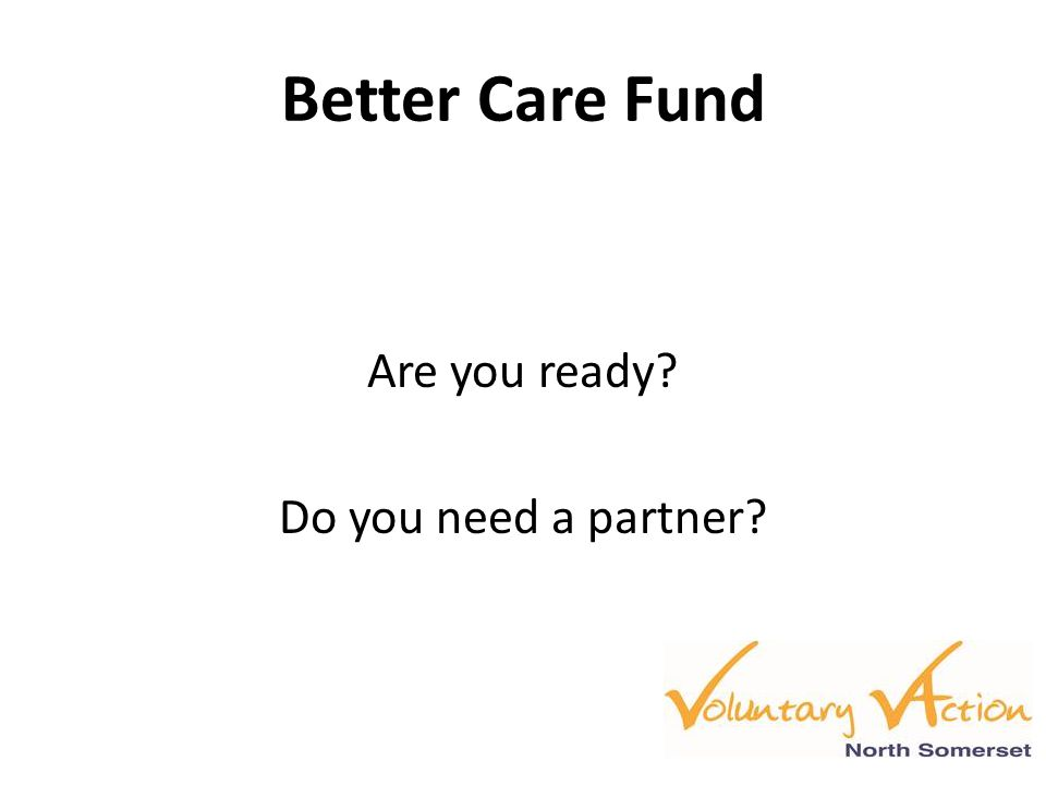 Better Care Fund Are you ready? Do you need a partner?