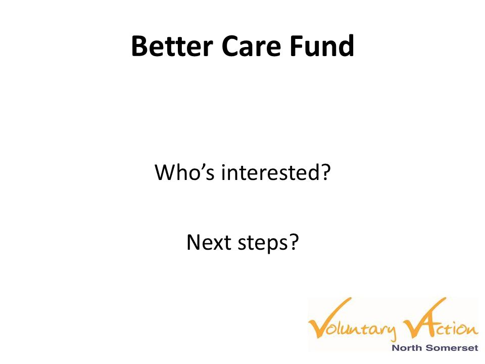 Better Care Fund Who's interested? Next steps?
