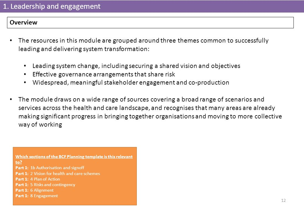 1. Leadership and engagement 12 Overview The resources in this module are grouped around three themes common to successfully leading and delivering sy