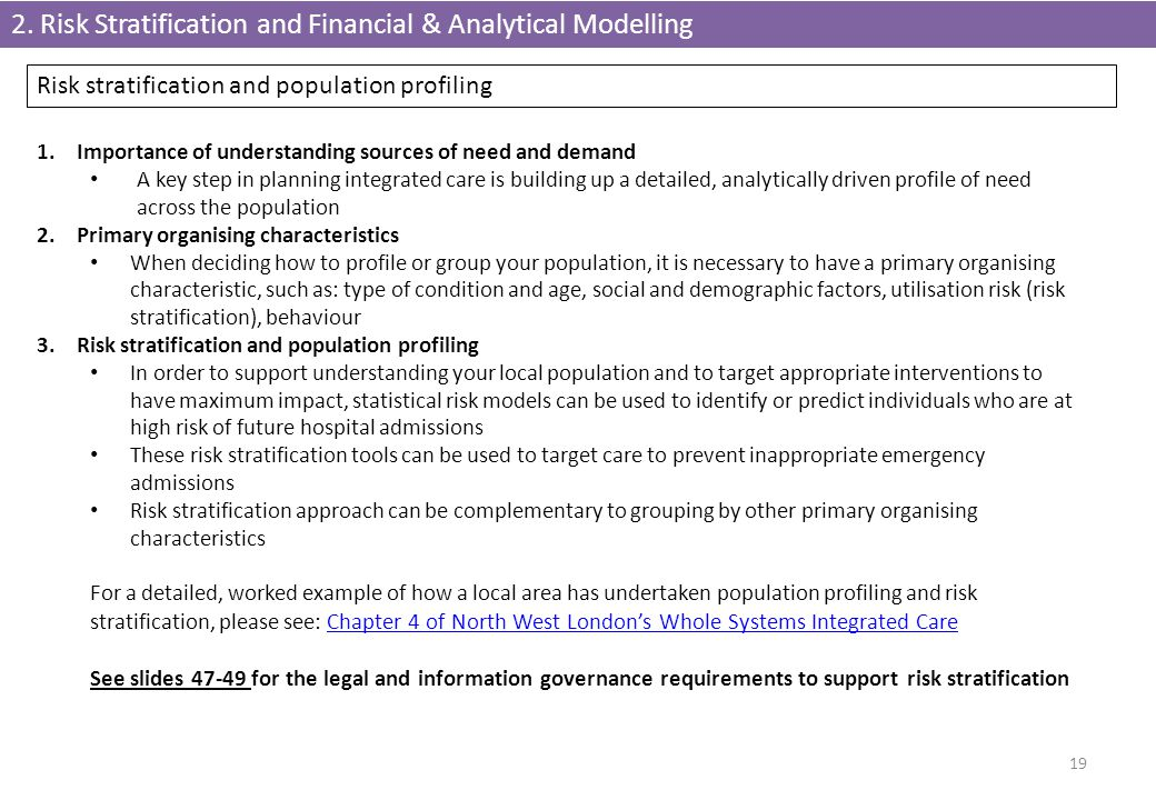 2. Risk Stratification and Financial & Analytical Modelling 19 1.Importance of understanding sources of need and demand A key step in planning integra