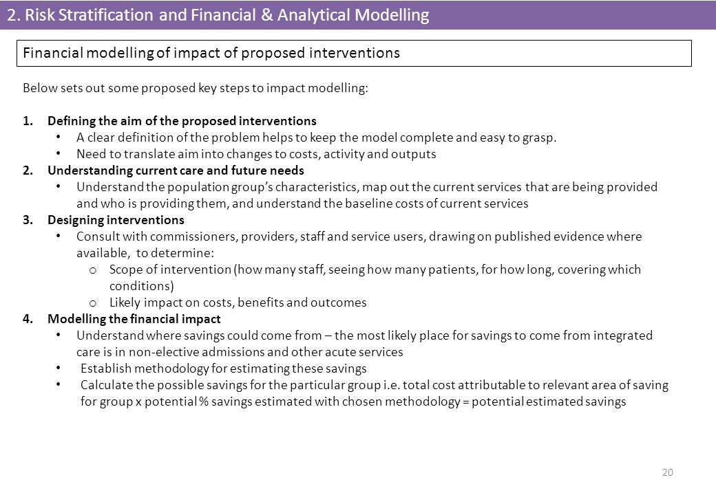 2. Risk Stratification and Financial & Analytical Modelling 20 Financial modelling of impact of proposed interventions Below sets out some proposed ke