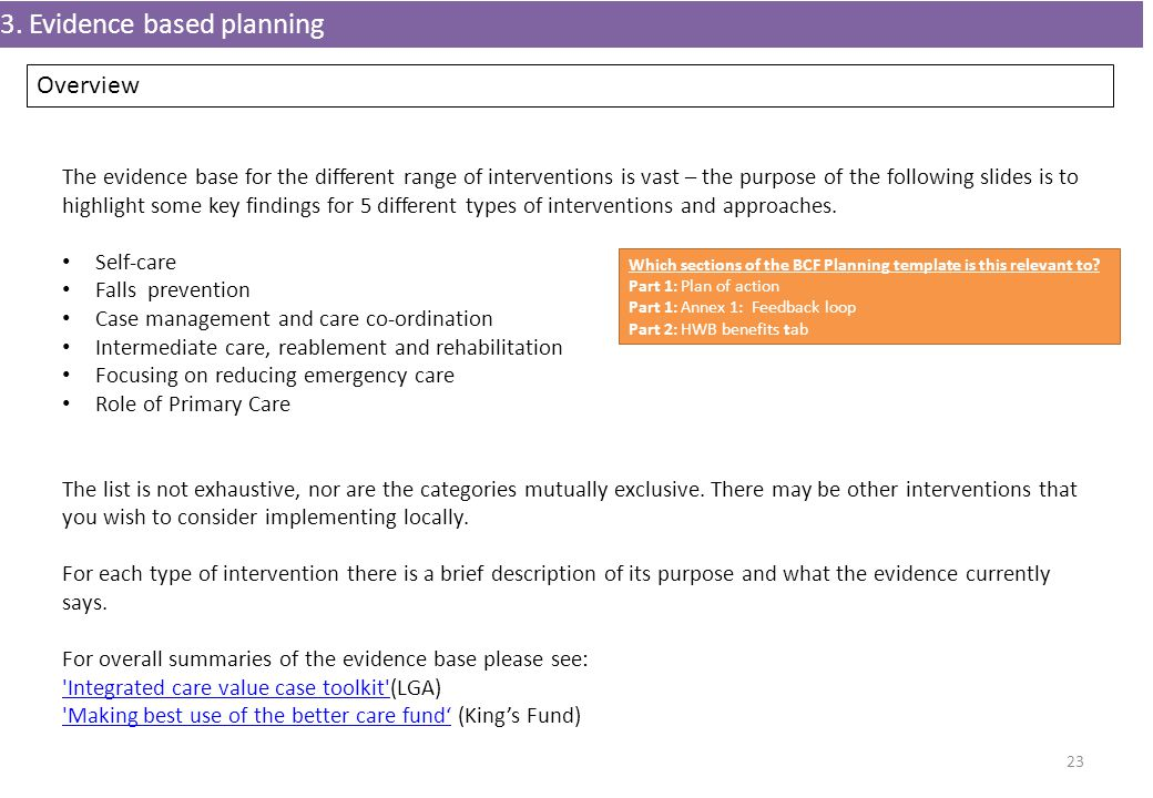 3. Evidence based planning 23 The evidence base for the different range of interventions is vast – the purpose of the following slides is to highlight