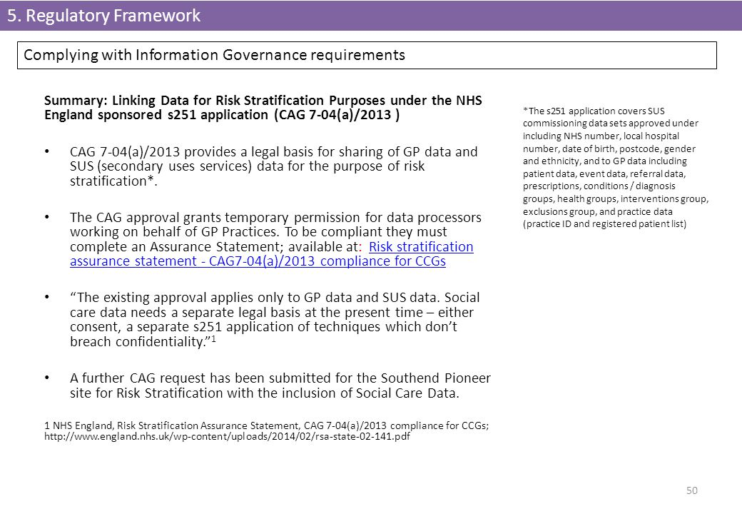50 Summary: Linking Data for Risk Stratification Purposes under the NHS England sponsored s251 application (CAG 7-04(a)/2013 ) CAG 7-04(a)/2013 provid