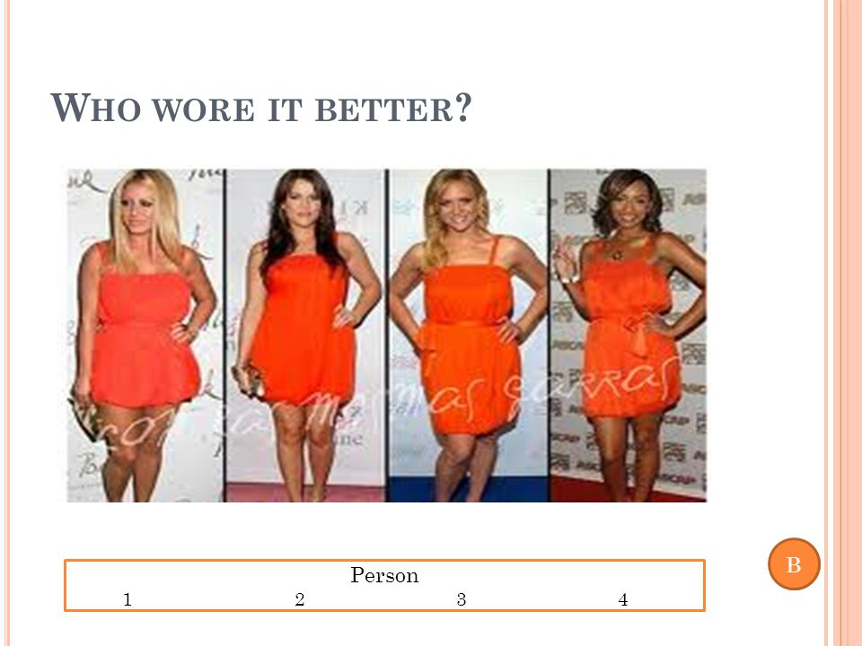 W HO WORE IT BETTER Person 1234 B