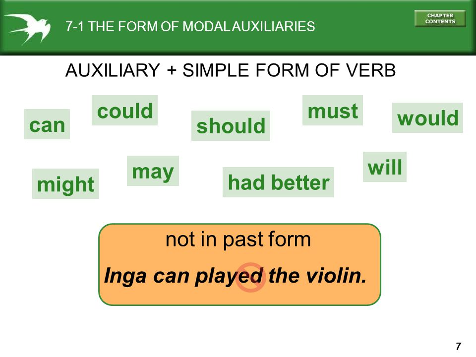 7 7-1 THE FORM OF MODAL AUXILIARIES AUXILIARY + SIMPLE FORM OF VERB not in past form Inga can played the violin.