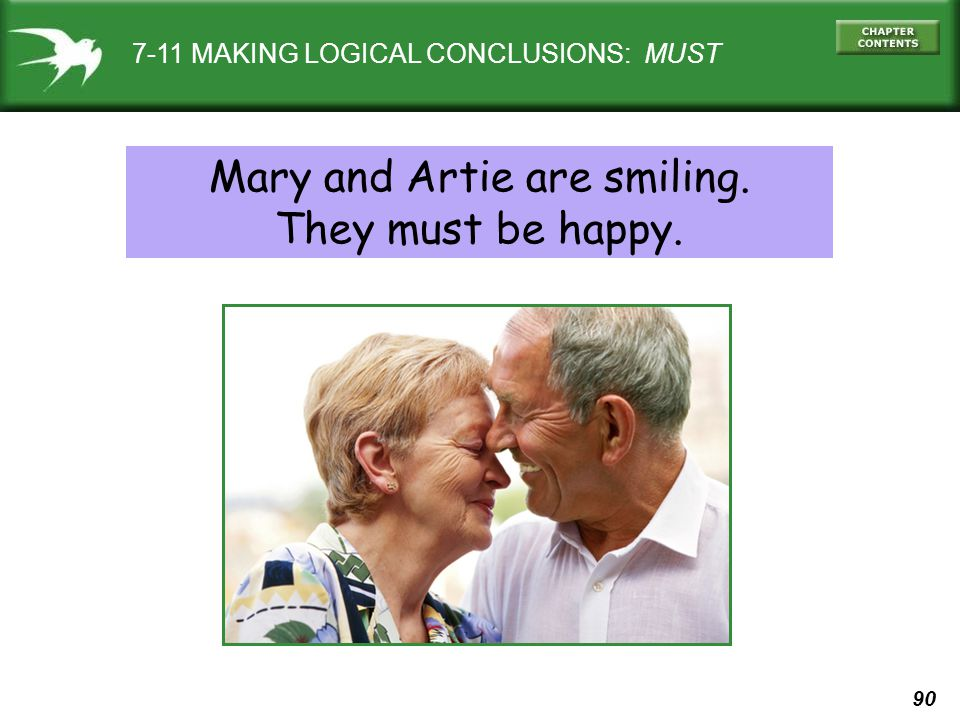 90 7-11 MAKING LOGICAL CONCLUSIONS: MUST Mary and Artie are smiling. They must be happy.