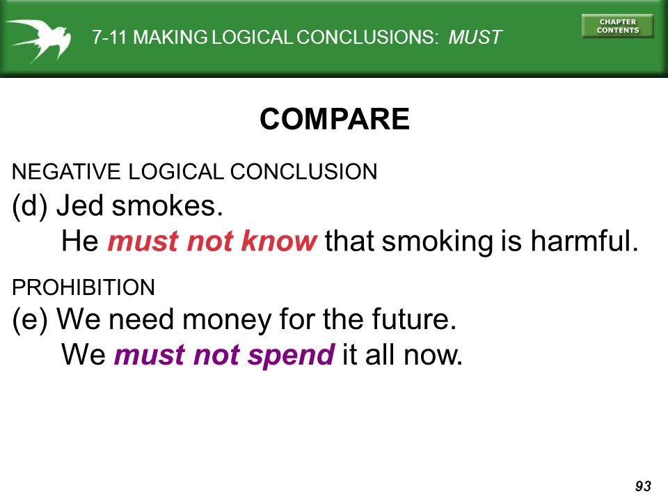 93 7-11 MAKING LOGICAL CONCLUSIONS: MUST NEGATIVE LOGICAL CONCLUSION (d) Jed smokes.