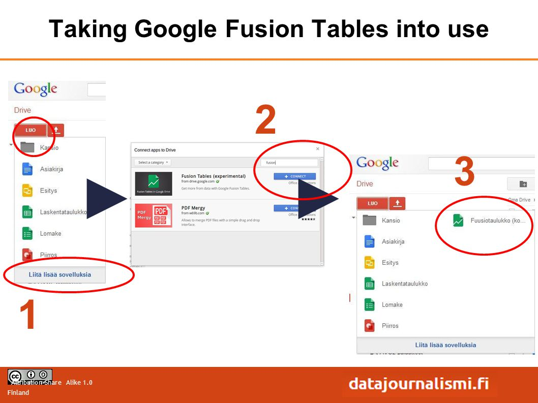 Attribution-Share Alike 1.0 Finland Taking Google Fusion Tables into use 1 2 3