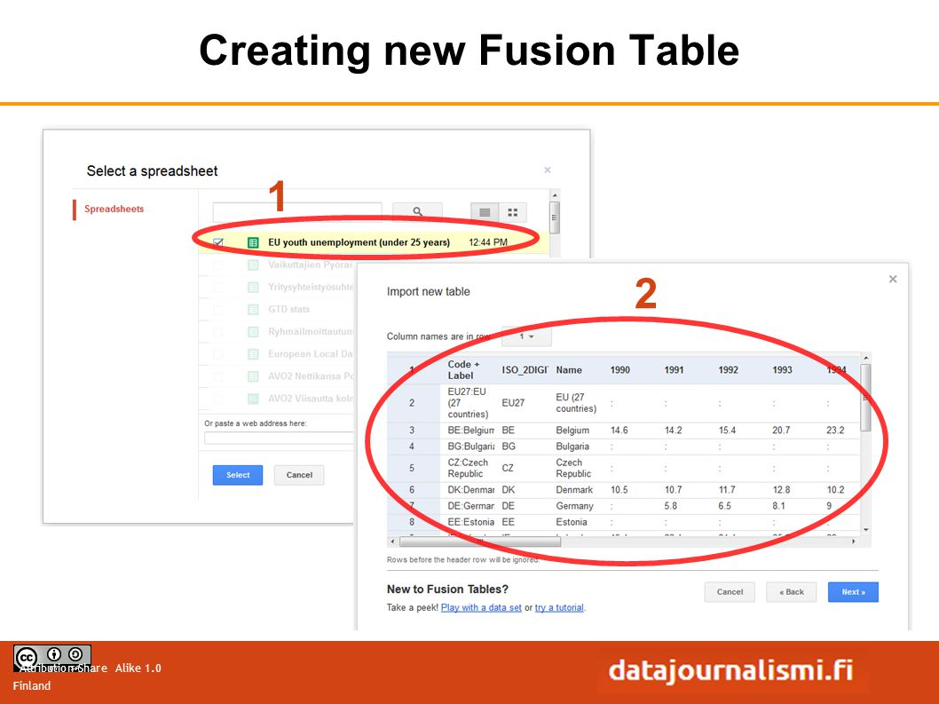 Attribution-Share Alike 1.0 Finland Creating new Fusion Table 1 2