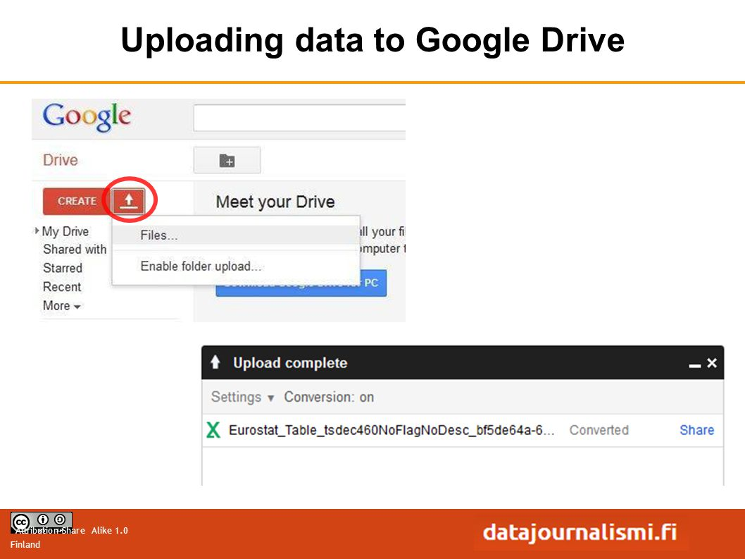 Attribution-Share Alike 1.0 Finland Uploading data to Google Drive