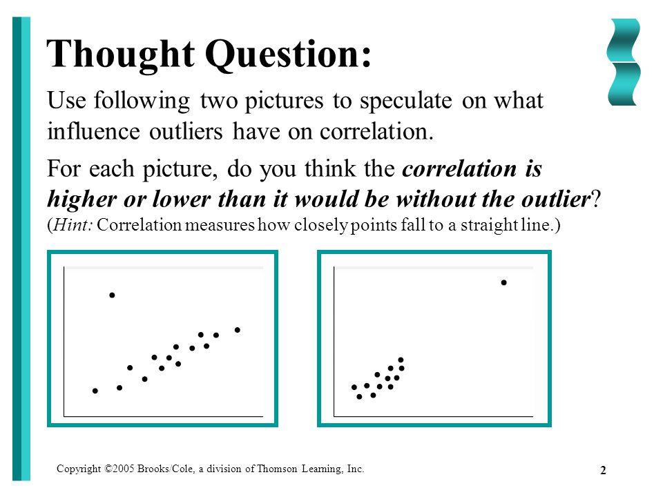 Copyright ©2005 Brooks/Cole, a division of Thomson Learning, Inc. 2 Thought Question: Use following two pictures to speculate on what influence outlie