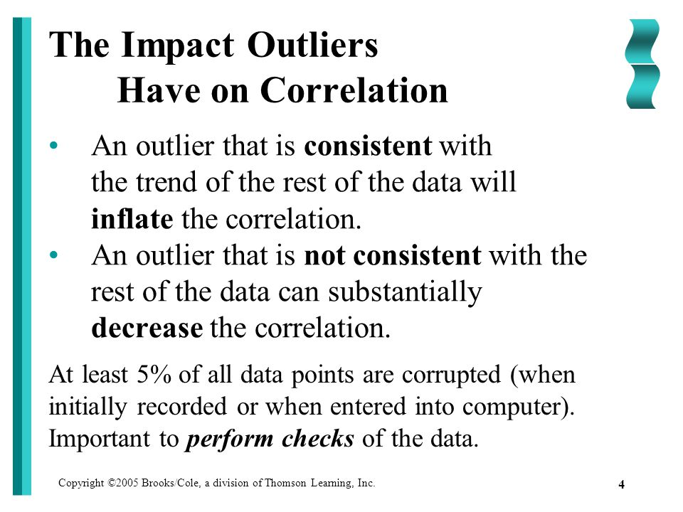 Copyright ©2005 Brooks/Cole, a division of Thomson Learning, Inc. 4 The Impact Outliers Have on Correlation An outlier that is consistent with the tre