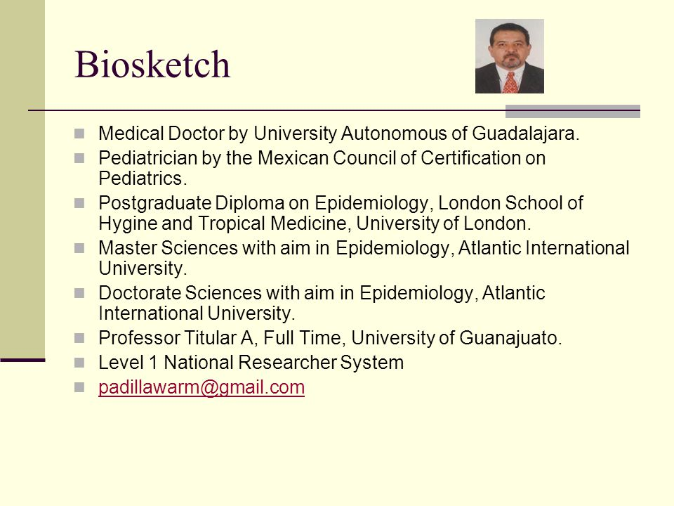 Biosketch Medical Doctor by University Autonomous of Guadalajara.