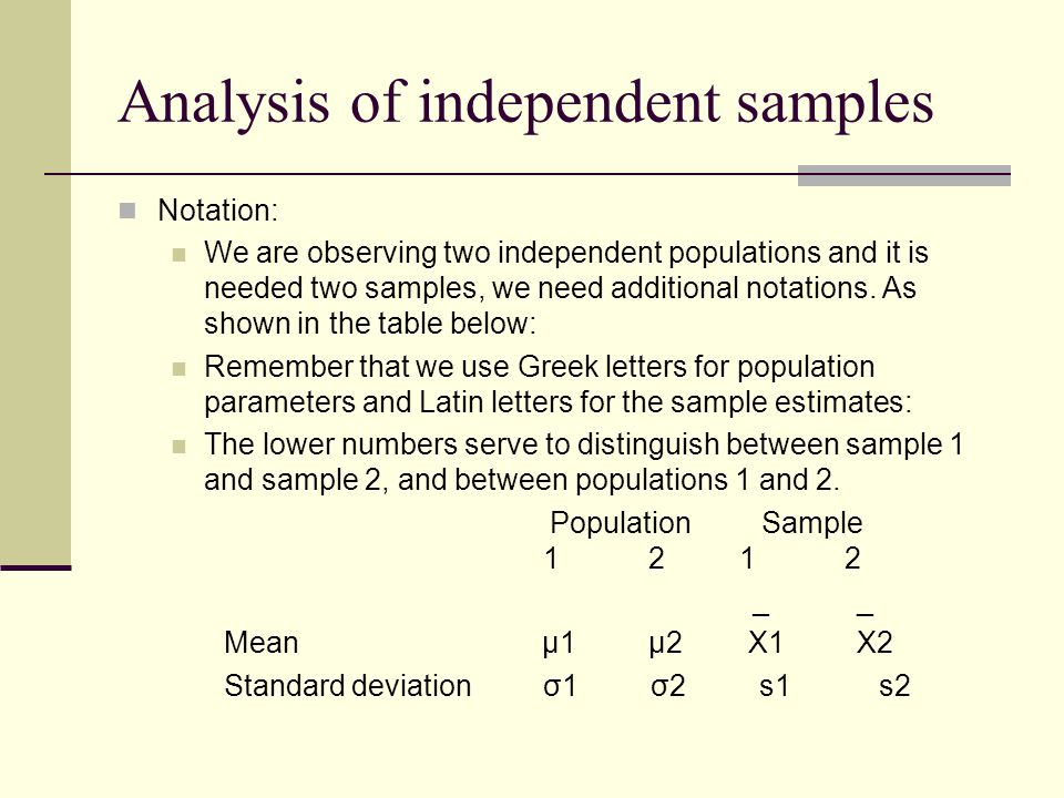 Notation: We are observing two independent populations and it is needed two samples, we need additional notations.