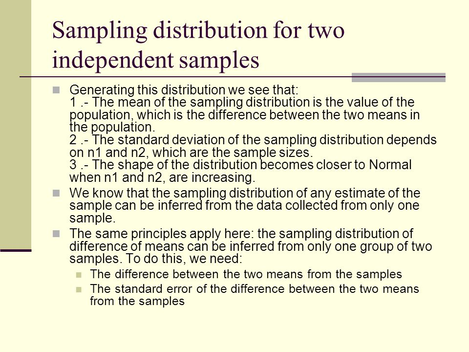 Generating this distribution we see that: 1.- The mean of the sampling distribution is the value of the population, which is the difference between the two means in the population.