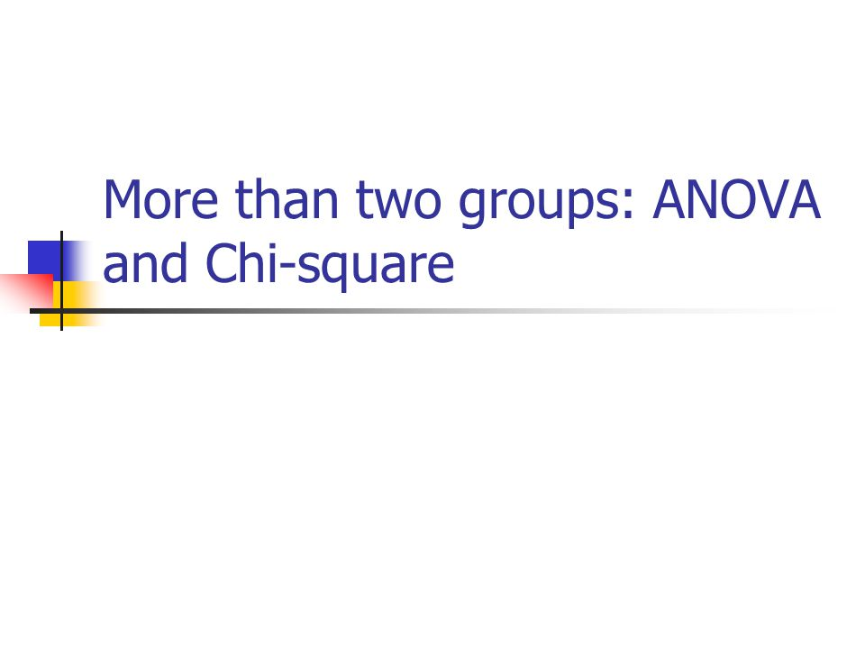 More than two groups: ANOVA and Chi-square