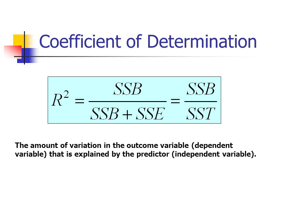 Coefficient of Determination The amount of variation in the outcome variable (dependent variable) that is explained by the predictor (independent variable).