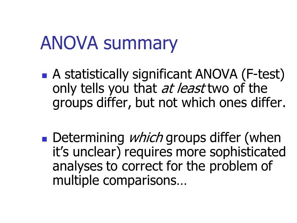 ANOVA summary A statistically significant ANOVA (F-test) only tells you that at least two of the groups differ, but not which ones differ.