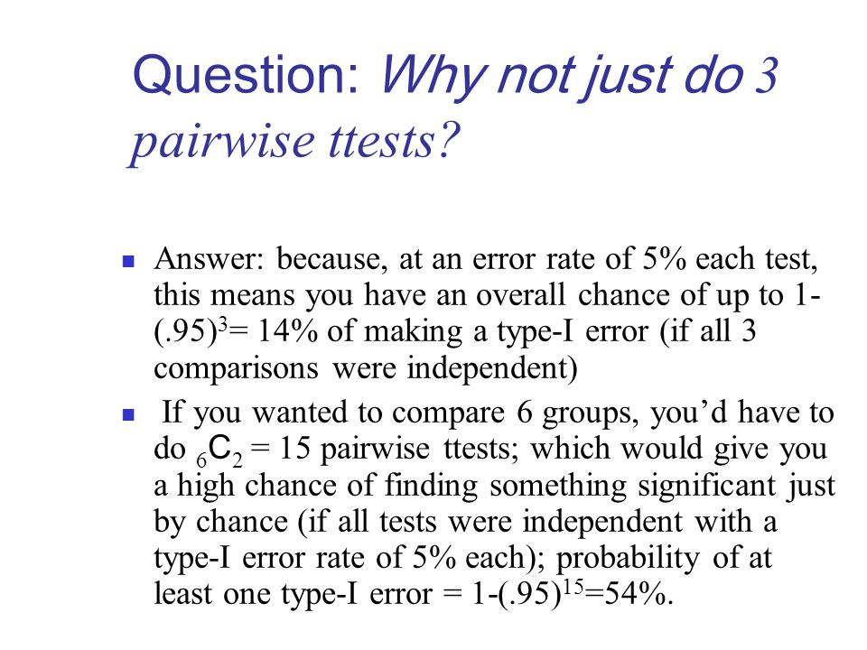 Question: Why not just do 3 pairwise ttests.