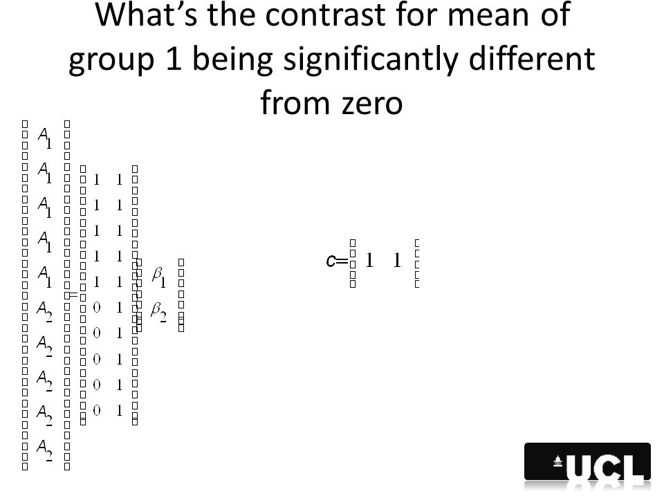 What's the contrast for mean of group 1 being significantly different from zero