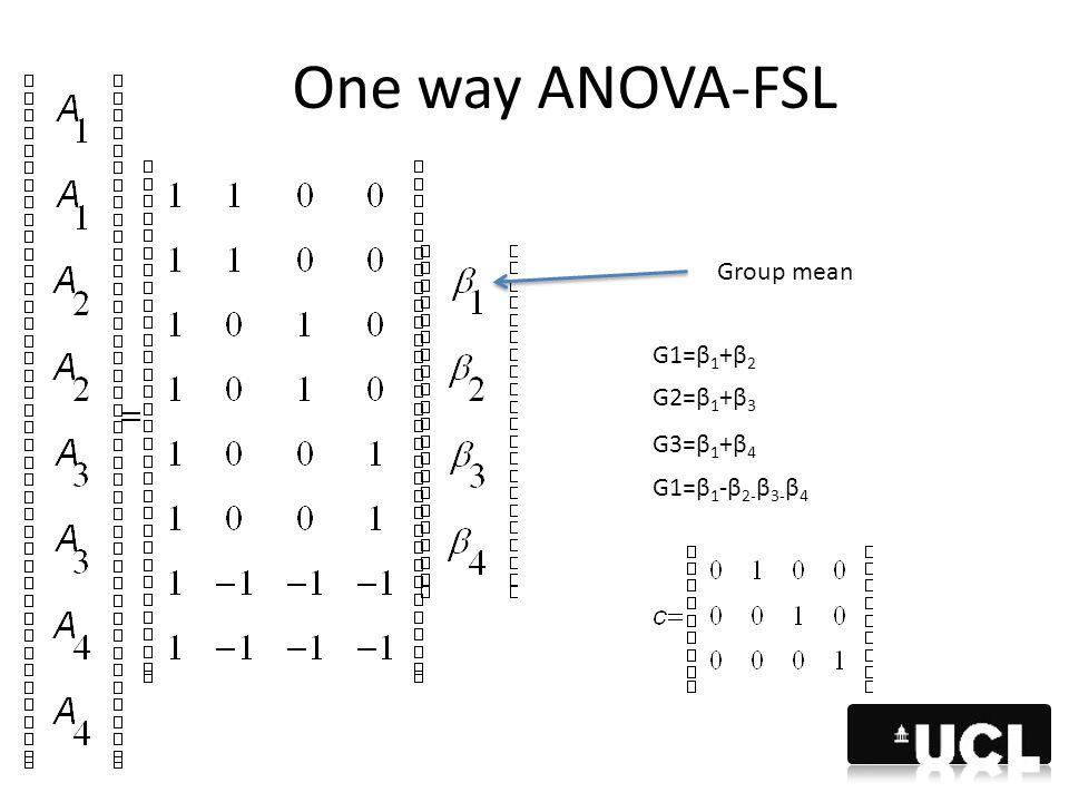 One way ANOVA-FSL Group mean G1=β 1 +β 2 G3=β 1 +β 4 G1=β 1 -β 2- β 3- β 4 G2=β 1 +β 3