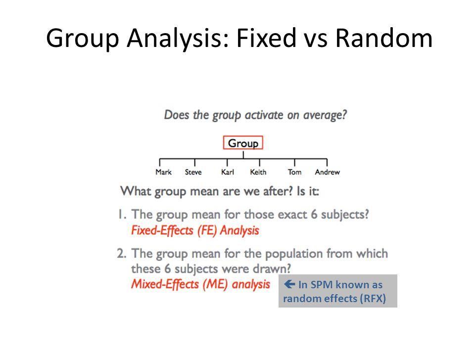 Group Analysis: Fixed vs Random  In SPM known as random effects (RFX)