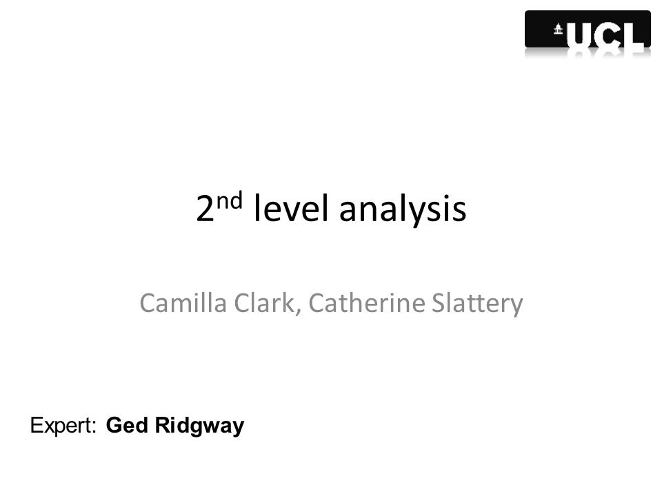2 nd level analysis Camilla Clark, Catherine Slattery Expert: Ged Ridgway