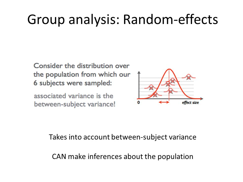 Group analysis: Random-effects Takes into account between-subject variance CAN make inferences about the population