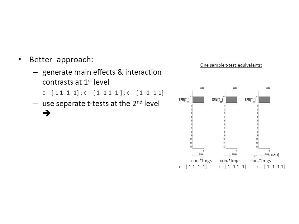 Better approach: – generate main effects & interaction contrasts at 1 st level c = [ 1 1 -1 -1] ; c = [ 1 -1 1 -1 ] ; c = [ 1 -1 -1 1] – use separate