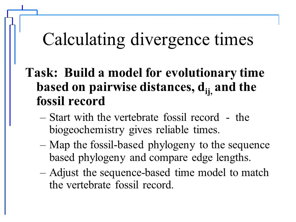 Calculating divergence times Doolittle, D.F., Fend, D-F, Tsang, S., Cho, G and Little, E.