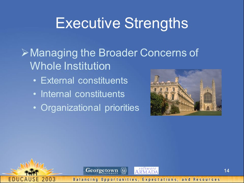 14 Executive Strengths  Managing the Broader Concerns of Whole Institution External constituents Internal constituents Organizational priorities