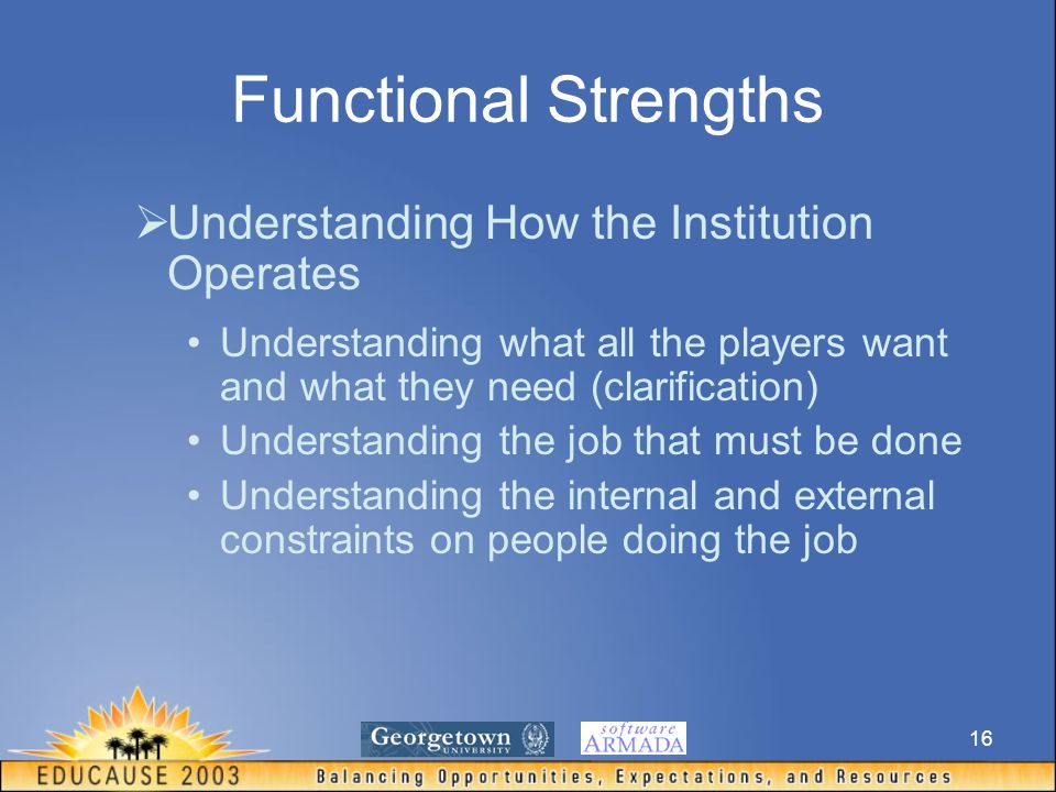 16 Functional Strengths  Understanding How the Institution Operates Understanding what all the players want and what they need (clarification) Understanding the job that must be done Understanding the internal and external constraints on people doing the job