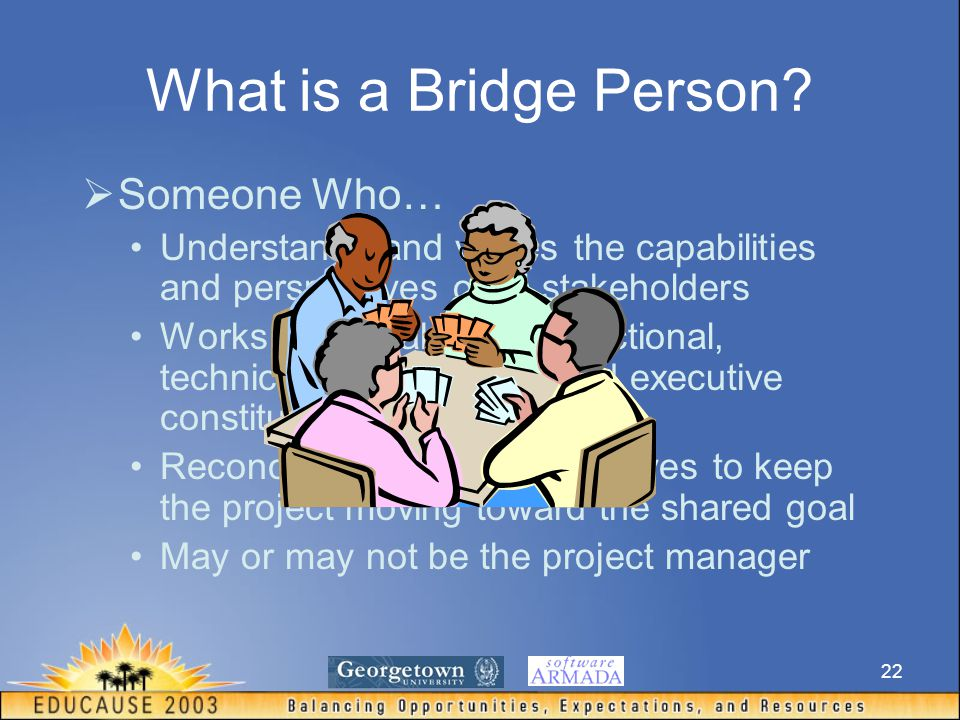 22 What is a Bridge Person?  Someone Who… Understands and values the capabilities and perspectives of all stakeholders Works comfortably with functio