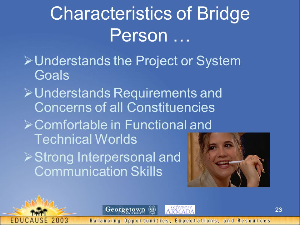 23 Characteristics of Bridge Person …  Understands the Project or System Goals  Understands Requirements and Concerns of all Constituencies  Comfortable in Functional and Technical Worlds  Strong Interpersonal and Communication Skills