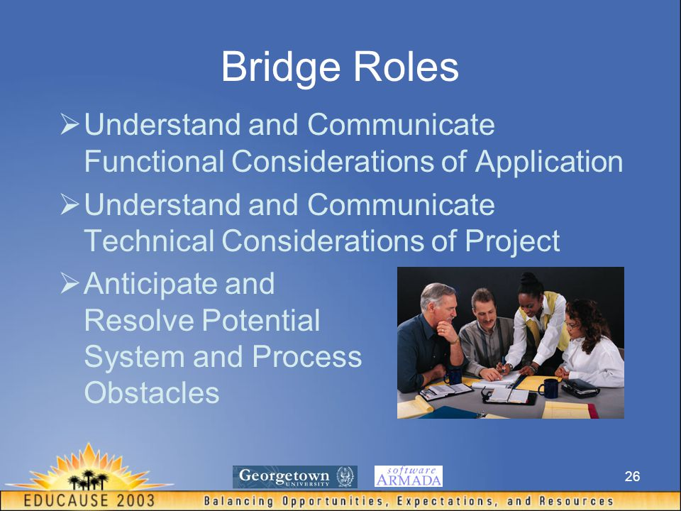26 Bridge Roles  Understand and Communicate Functional Considerations of Application  Understand and Communicate Technical Considerations of Project  Anticipate and Resolve Potential System and Process Obstacles