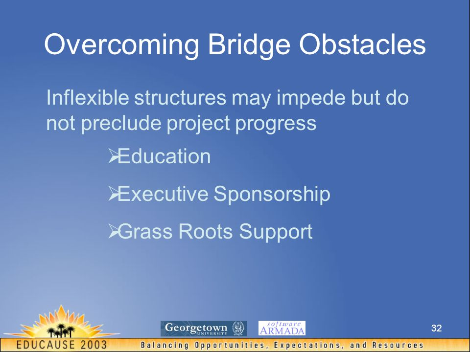 32 Overcoming Bridge Obstacles Inflexible structures may impede but do not preclude project progress  Education  Executive Sponsorship  Grass Roots Support