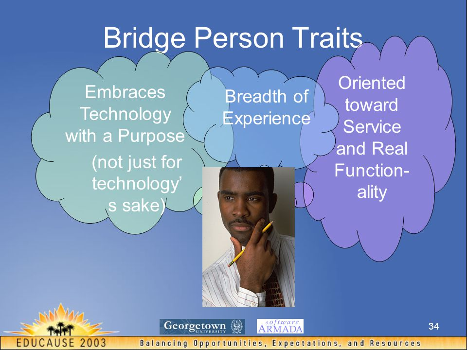 34 Bridge Person Traits Embraces Technology with a Purpose (not just for technology' s sake) Oriented toward Service and Real Function- ality Breadth of Experience