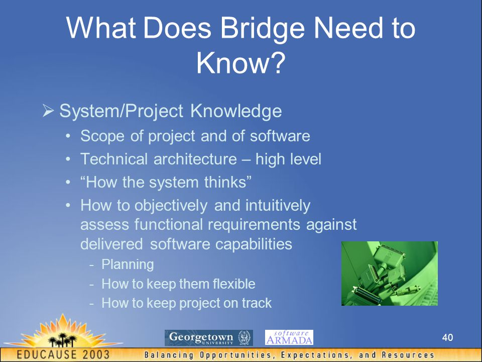 40  System/Project Knowledge Scope of project and of software Technical architecture – high level How the system thinks How to objectively and intuitively assess functional requirements against delivered software capabilities -Planning -How to keep them flexible -How to keep project on track What Does Bridge Need to Know?