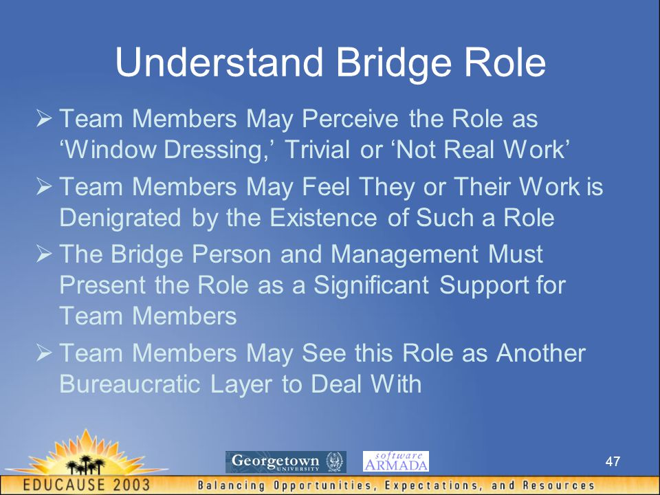 47 Understand Bridge Role  Team Members May Perceive the Role as 'Window Dressing,' Trivial or 'Not Real Work'  Team Members May Feel They or Their Work is Denigrated by the Existence of Such a Role  The Bridge Person and Management Must Present the Role as a Significant Support for Team Members  Team Members May See this Role as Another Bureaucratic Layer to Deal With